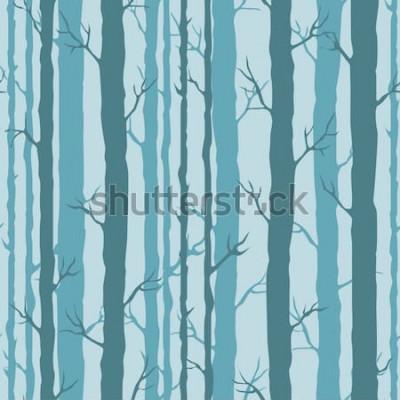 Väggdekor Dekorativa sömlösa mönster med trädstammar. Ändlösa prydnad med mörka turkosstammar av träd på blå bakgrund. Stilfull trädbakgrund för inpackning, tapet.