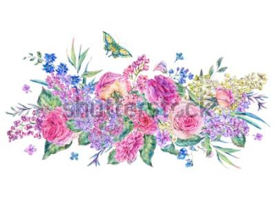 Väggdekor Dekorativa vintage akvarell gratulationskort med rosa rosor och syriner, blommor, blad och knoppar, botanisk blommig illustration isolerad på vit bakgrund