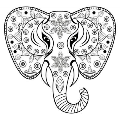 Väggdekor Dekorerad elefanthuvud vektor, testa di elefante decorato vettoriale Isolato su sfondo bianco