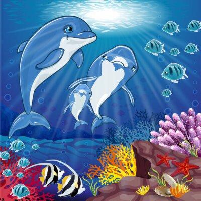 Väggdekor Delfiner på havsbotten