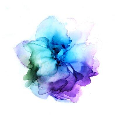 Väggdekor Delicate hand drawn watercolor flower in blue and violet tones. Alcohol ink art. Raster illustration.