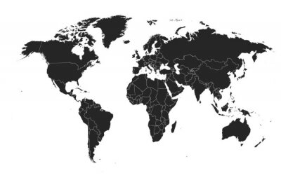 Väggdekor Detailed, high resolution, accurate vector map of the world
