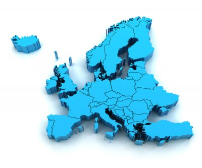 Väggdekor Detaljkarta Europa med nationella gränserna