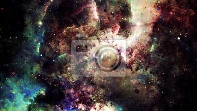Väggdekor Digital abstrakt av en ljus och färgrik nebulosa galax och stjärnor