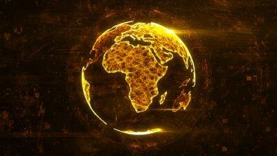 Väggdekor Digital abstrakt globus gjord av plexus glödande linjer. Företagsteknikstruktur av de orange linjerna, prickarna och partiklarna. Afrika kontinent. 3d rendering