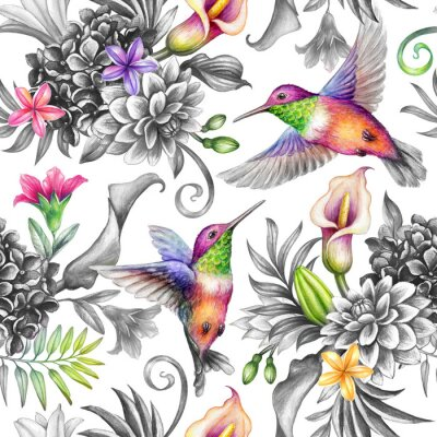 Väggdekor digital watercolor botanical illustration, seamless floral pattern, wild tropical flowers, humming birds, white background. Paradise garden day. Palm leaves, calla lily, plumeria, hydrangea, gerber
