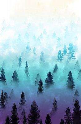 Väggdekor dimmig skogslandskap