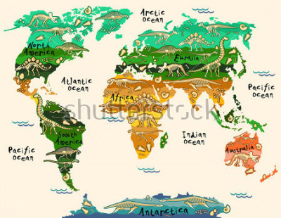 Väggdekor Dinosaurs map of the world for children and kids