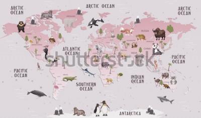 Väggdekor Djur världskarta för barn tapet design