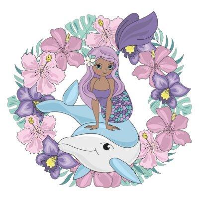 Väggdekor DOLPHIN WREATH Floral Mermaid Cartoon Underwater Sea Ocean Cruise Travel Tropical Animal Vector Illustration Set for Print Fabric and Decoration
