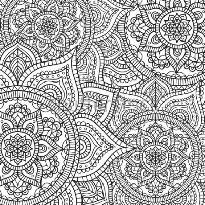 Väggdekor Doodle pattern with ethnic mandala ornament. Black and white illustration. Outline. Coloring page for coloring book.