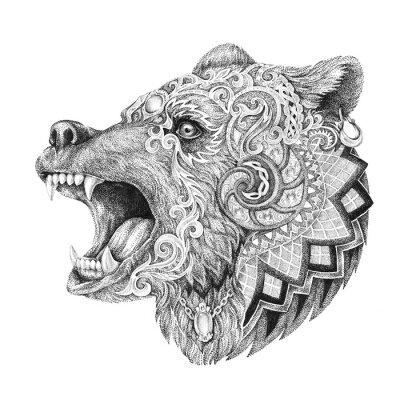 Väggdekor Dotwork, tatuering, huvud rasande björn