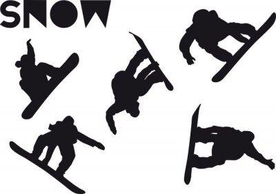 Väggdekor Druck Snowboarder jump uppsättning