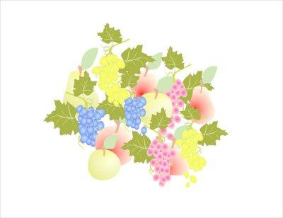 Väggdekor druvor päron äpple - frukt höst,