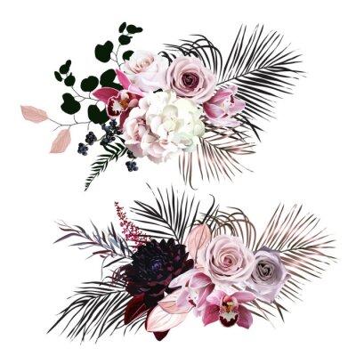 Väggdekor Dusty rose, hydrangea, pink cymbidium orchid, berry, bronze, black palm leaves