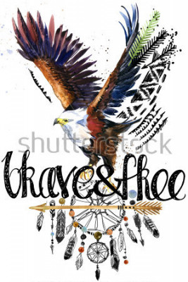 Väggdekor eagle. American Indian Chief Headdress. war bonnet. dream catcher background. native american poster. animal illustration. brave and free hand written text.