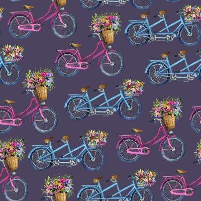Väggdekor eamless mönster med cyklar och blommor
