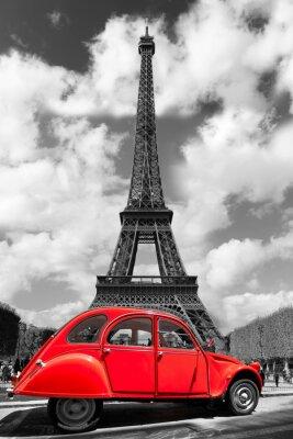 Väggdekor Eiffeltornet med röda gamla bil i Paris, Frankrike