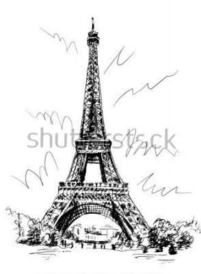 Väggdekor Eiffeltornet ritat med penna och spårning, bildspårning, ritning för hand, Paris, Frankrike.
