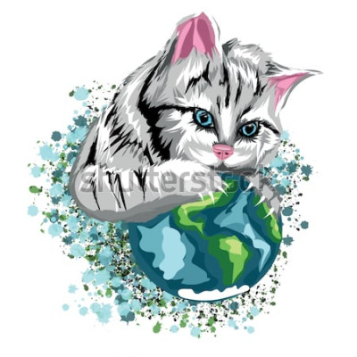 Väggdekor Ekologisk värld för vektorkatt med den kattliknande planeten och snöfläckar, grå katt med blå ögon.