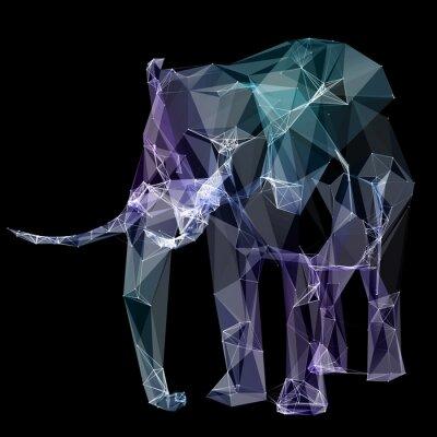 Väggdekor Elefant i polygonen design. Digital illustration. Begrepp