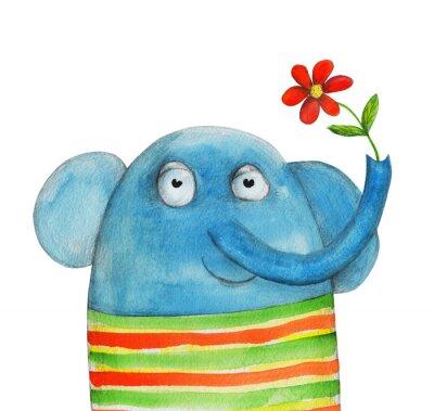 Väggdekor Elefant med blomma. Vattenfärg