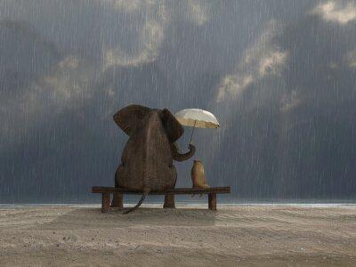 Väggdekor elefant och hund sitta i regnet