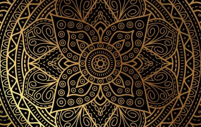 Väggdekor Elegant background with gold luxury floral pattern texture and traditional arabian mandala concept, use for islamic ramadan banner design, business card greeting card, and poster design vector eps10