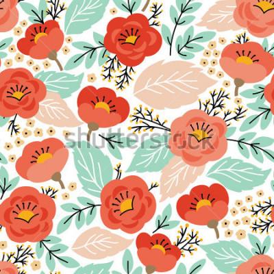 Väggdekor Elegant sömlöst mönster med blommor. Den kan använda för skrivbordsunderlägg eller ram för vägghängning eller affisch, för mönsterfyllningar, yttexturer, webbsidor bakgrunder, textil och mer.