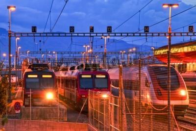 Väggdekor Elektriska tåg i Geneve bangård