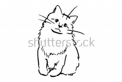 Väggdekor En sittande kattunge. Svartvitt vektor skiss. Enkel ritning på vit bakgrund.