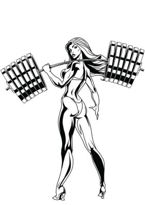 Väggdekor En stark tjej med en tung skivstång
