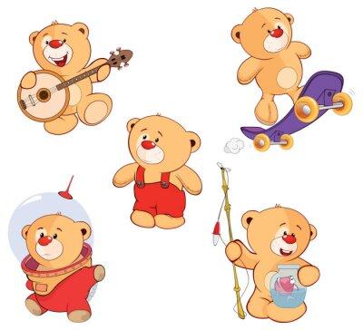 Väggdekor En uppsättning av björnar tecknad