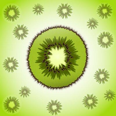 Väggdekor Enda stycke kiwi på frukt bakgrund