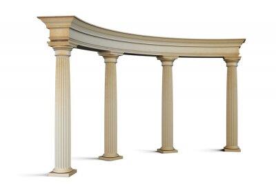 Väggdekor Entré grupp med kolumner i klassisk stil på en vit. 3