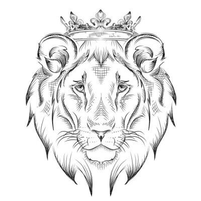 Väggdekor Etniska handen ritning huvud lejon bär en krona. totem / tatuering design. Används för tryck, affischer, t-shirts. vektor