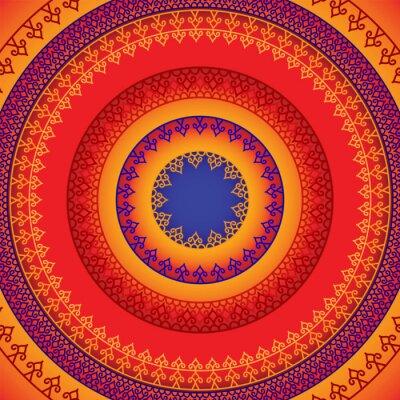 Väggdekor Etniska och färgrika Henna Mandala design, mycket genomarbetade och lätt redigerbar
