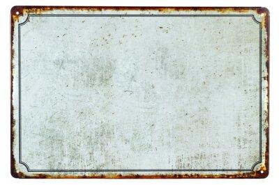 Väggdekor Ett gammalt blank rostigt metalltecken med en kopia utrymme bakgrund för din text