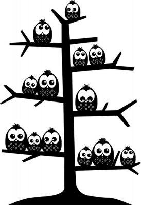 Väggdekor ett träd fullt av ugglor