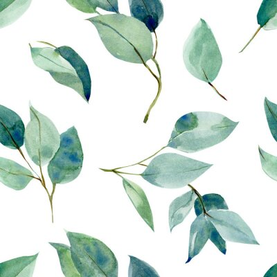 Väggdekor eucalyptus leaves, seamless pattern, watercolor tropical leaves on isolated white background, digital paper