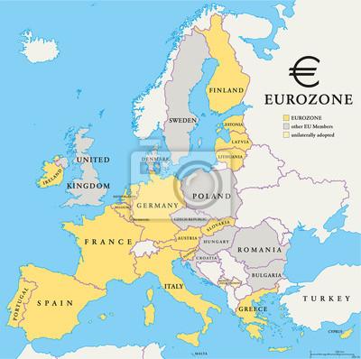 Väggdekor Euroländerna Karta