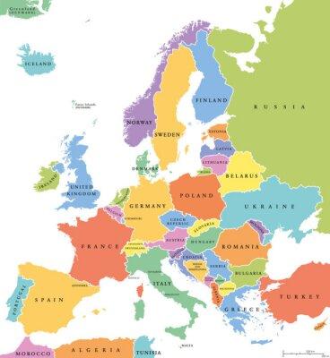 Väggdekor Europa enstaka stater politiska kartan. Alla länder i olika färger, med nationella gränser och namn på länder. Engelska märkning och skalning. Illustration på vit bakgrund.