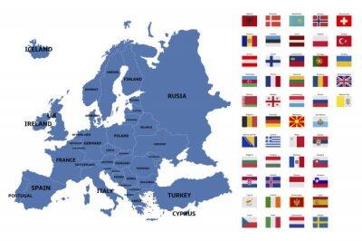 Väggdekor europa karta och flaggor