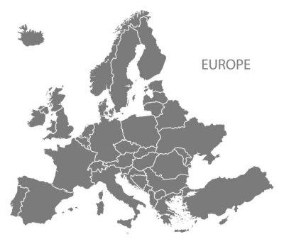 Väggdekor Europa med länder Karta grå