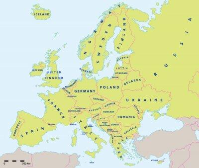 Väggdekor Europa politiska kartan 2015 med etiketter och kartans skala. Nya gränser Ukraina och Ryssland på Krimhalvön. All data är i lager för enkel redigering vektorkarta.
