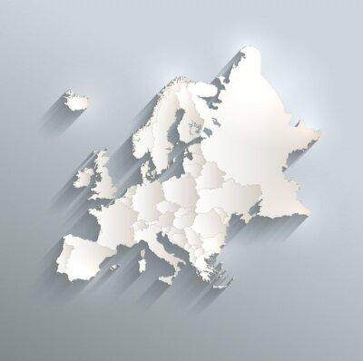 Väggdekor Europa politiska kartan flagga 3D vektor enskilda stater separera