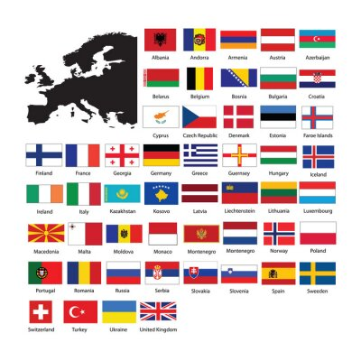 Väggdekor Europe flags