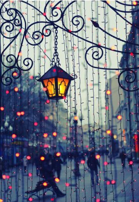 Väggdekor Evening Avenue med ljus