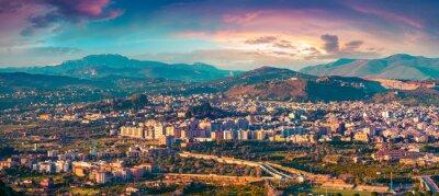 Väggdekor Evening view from fågelns öga staden Bagheria