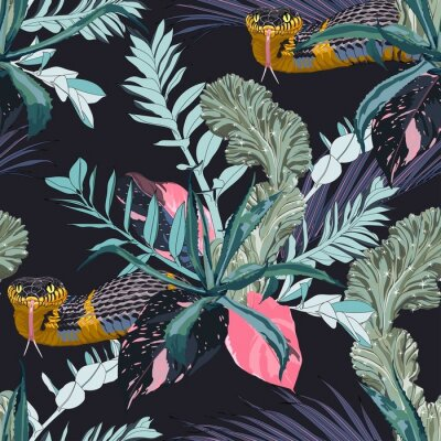 Väggdekor Exotic leaves and branches, many kinds of plants and yellow snake seamless pattern. Tropical night. White background.